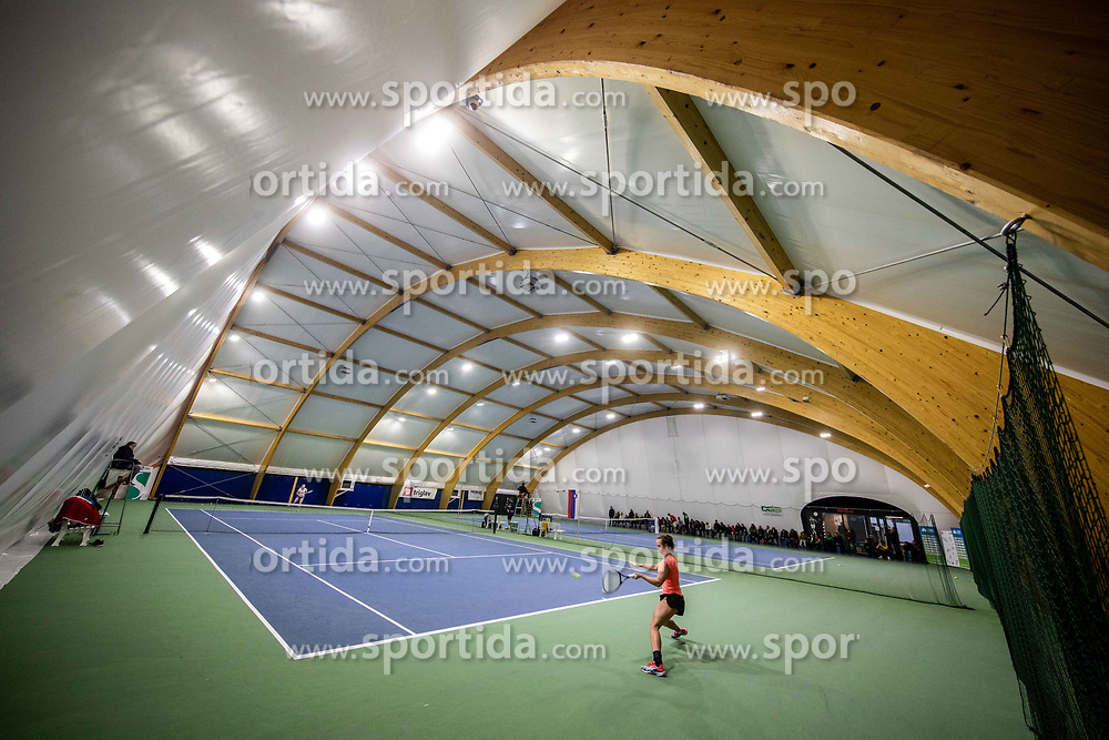 Tina Cvetkovic in action at final match during Slovenian National Tennis Championship 2019, on December 21, 2019 in Medvode, Slovenia. Photo by Vid Ponikvar/ Sportida