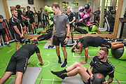 FGR players in the gym during the Forest Green Rovers pre-season training camp at Woodbury Park, Woodbury, United Kingdom on 9 July 2018. Picture by Shane Healey.