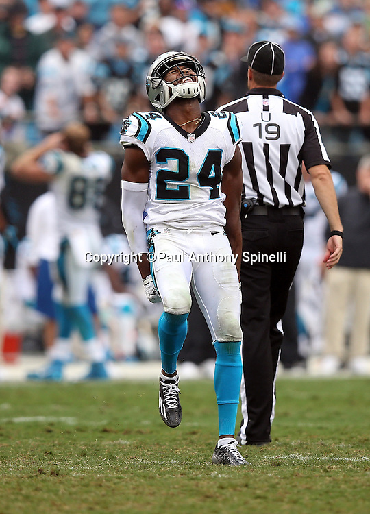 Carolina Panthers cornerback Josh Norman (24) celebrates during the 2015 NFL week 3 regular season football game against the New Orleans Saints on Sunday, Sept. 27, 2015 in Charlotte, N.C. The Panthers won the game 27-22. (©Paul Anthony Spinelli)