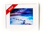 Nightfall, Coogee &ndash; Ex exhibition work. One only available. 8x12&rdquo; signed print on Fujicolor Pearl metallic paper. Mounted on 2mm aluminium composite. White box frame with white mattboard, UV acrylic &amp; D-ring hangers. Outside frame dimensions 350 x 450 x 38mm. Clearance price $129 incl GST &amp; free delivery in Sydney metro area. Add $30 delivery elsewhere in Australia. <br /> <br /> Inspection can be arranged before purchase in Sydney metro area.<br /> <br /> Order by email to orders@GirtBySeaPhotography.com<br /> <br /> Link to original image:<br /> http://girtbyseaphotography.photoshelter.com/gallery-image/Coogee/G00008s4IqTixvAQ/I00001NcdPIYfv3o/C0000vTXfzDGo.Ko