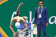 Ashgabat, Turkmenistan - 2017 September 24: Peng Wang from People's Republic of China competes in Men's 50m Butterfly Final while Short Course Swimming competition during 2017 Ashgabat 5th Asian Indoor & Martial Arts Games at Aquatics Centre (AQC) at Ashgabat Olympic Complex on September 24, 2017 in Ashgabat, Turkmenistan.<br /> <br /> Photo by © Adam Nurkiewicz / Laurel Photo Services