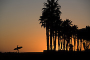 Silhouette of one lone surfer carrying his longboard at sunset at Surfer's Point, Ventura, California.  (releasecode: cybok_brian)