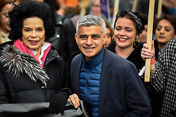 © Licensed to London News Pictures. 08/03/2020. LONDON, UK. Bianca Jagger (L), activist, and Sadiq Khan (C), Mayor of London, join thousands of people in the annual March 4 Women on International Women's Day. The event this year celebrates the power and passion of women and girls who are on the frontline of responding to climate change.  The walk through central London from Whitehall Place ends with a rally in Parliament Square.  Photo credit: Stephen Chung/LNP