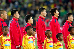 Players of Korea during the 2010 FIFA World Cup South Africa Group G match between Brazil and North Korea at Ellis Park Stadium on June 15, 2010 in Johannesburg, South Africa. Brazil defeated Korea 2-1. (Photo by Vid Ponikvar / Sportida)