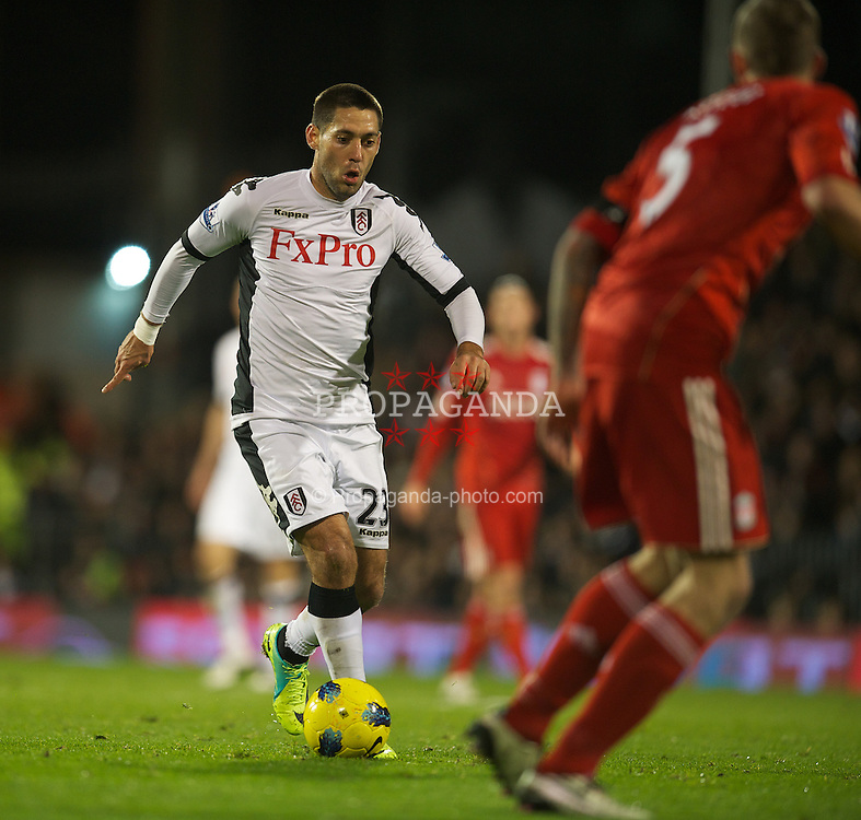 LONDON, ENGLAND - Monday, December 5, 2011: Fulham's Clint Dempsey in action against Liverpool during the Premiership match at Craven Cottage. (Pic by David Rawcliffe/Propaganda)