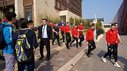 NANNING, CHINA - Thursday, March 22, 2018: Wales' Gareth Bale and his team-mates during a team walk near the Wanda Realm Resort ahead of the 2018 Gree China Cup International Football Championship. (Pic by David Rawcliffe/Propaganda)