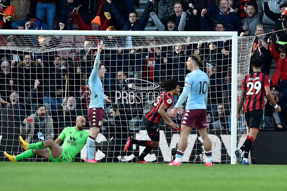 Goal - Nathan Ake (5) of AFC Bournemouth celebrates scoring a goal to give a 2-0 lead during the Premier League match between Bournemouth and Aston Villa at the Vitality Stadium, Bournemouth, England on 1 February 2020.