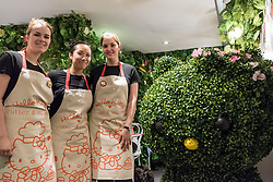 © Licensed to London News Pictures. 01/06/2016. London, UK. Staff in the secret garden.  A pop up cafe has opened for the summer at Cutter & Squidge in Soho serving Hello Kitty's Secret Garden Afternoon Tea.  Natural, handmade products inspired by the Hello Kitty character popular worldwide, are on offer in Sanrio's first official Helly Kitty pop up cafe in Europe. Photo credit : Stephen Chung/LNP
