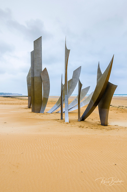 Les Braves WWII D-day monument on Omaha Beach created by French sculptor Anilore Banon, Normandy, France