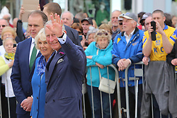 © Licensed to London News Pictures. 25/05/2016. Donegal, Ireland, Britain's Prince Charles and Camilla, Duchess of Cornwall take part in a walk-about in Donegal town in the Irish Republic, Wednesday, May 25th, 2016. Prince Charles is on the final day of a 3 trip to Northern Ireland and the Irish Republic.  Photo credit: Paul McErlane/LNP