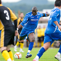 East Fife v St Johnstone...11.07.12  Pre-Season Friendly<br /> New signing Gregory tade shoots for goal<br /> Picture by Graeme Hart.<br /> Copyright Perthshire Picture Agency<br /> Tel: 01738 623350  Mobile: 07990 594431