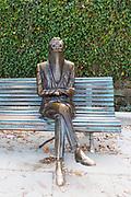 SANTIAGO DE COMPOSTELA, SPAIN - 14th October 2017 - Modern and artistic memorial statue of Ramon Maria del Valle Inclan in Alameda park, Santiago de Compostela, Galicia, Spain.
