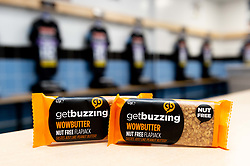 GetBuzzing WowButter NutFree Flapjack in the Exeter Chiefs changing room prior to kick off - Mandatory by-line: Ryan Hiscott/JMP - 19/10/2019 - RUGBY - Sandy Park - Exeter, England - Exeter Chiefs v Harlequins - Gallagher Premiership Rugby