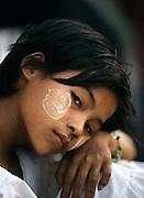 A young burmese girl in Wah Thin Kah village, Kawhmu township, Yangon.