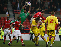 Photo: Steve Bond/Richard Lane Photography. <br />Nottingham Forest v Walsall. Coca Cola League One. 15/03/2008. keeper Clayton Ince gathers safely as Grant Holt (C,R) goes for the ball