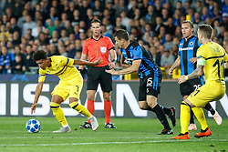 September 18, 2018 - Brugge, BELGIUM - Dortmund's Jadon Sancho and Club's Matej Mitrovic fight for the ball during a game between Belgian soccer team Club Brugge KV and German club Borussia Dortmund, in Brugge, Tuesday 18 September 2018, day one of the UEFA Champions League, in group A. BELGA PHOTO KURT DESPLENTER (Credit Image: © Kurt Desplenter/Belga via ZUMA Press)