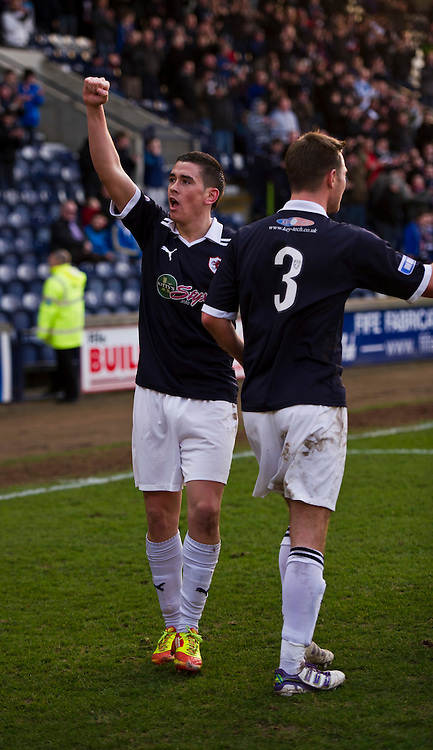 Iain Williamson celebrates with Willie Dyer (back to camera). Raith Rovers v Morton  Irn-Bru Scottish Football League Division One at Starks Park, Kirkcaldy. 3 March 2012