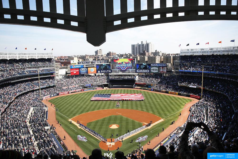 The opening ceremony during the New York Yankees Vs Toronto Blue Jays season opening day at Yankee Stadium, The Bronx, New York. 6th April 2015. Photo Tim Clayton