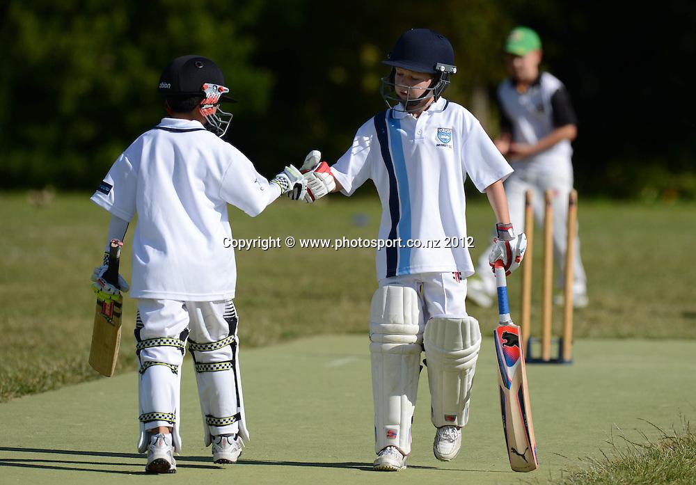 University v Grafton, 5th grade Junior Cricket. Churchill Park Primary School, Auckland. Saturday 24 November 2012