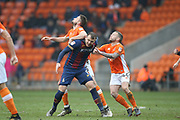 Bradford City striker Charlie Wyke (9) tussles with Blackpool defender Clark Robertson (5) and Blackpool midfielder Jay Spearing (44) during the EFL Sky Bet League 1 match between Blackpool and Bradford City at Bloomfield Road, Blackpool, England on 7 April 2018. Picture by Craig Galloway.