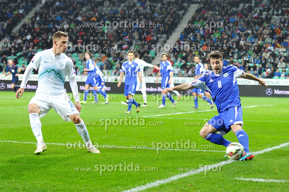 during football match between NationalTeams of Slovenia and San Marino in Round 5 of EURO 2016 Qualifications, on March 27, 2015 in SRC Stozice, Ljubljana, Slovenia. Photo by Mario Horvat / Sportida
