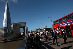 UK ENGLAND LONDON 21JUL15 - Commuters walk across London Bridge at the start of a working day in London.<br /> <br /> <br /> <br /> jre/Photo by Jiri Rezac / Greenpeace<br /> <br /> <br /> <br /> &copy; Jiri Rezac 2015