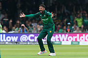 Mohammad Amir of Pakistan has an unsuccessful appeal for a catch against David Miller of South Africa during the ICC Cricket World Cup 2019 match between Pakistan and South Africa at Lord's Cricket Ground, St John's Wood, United Kingdom on 23 June 2019.