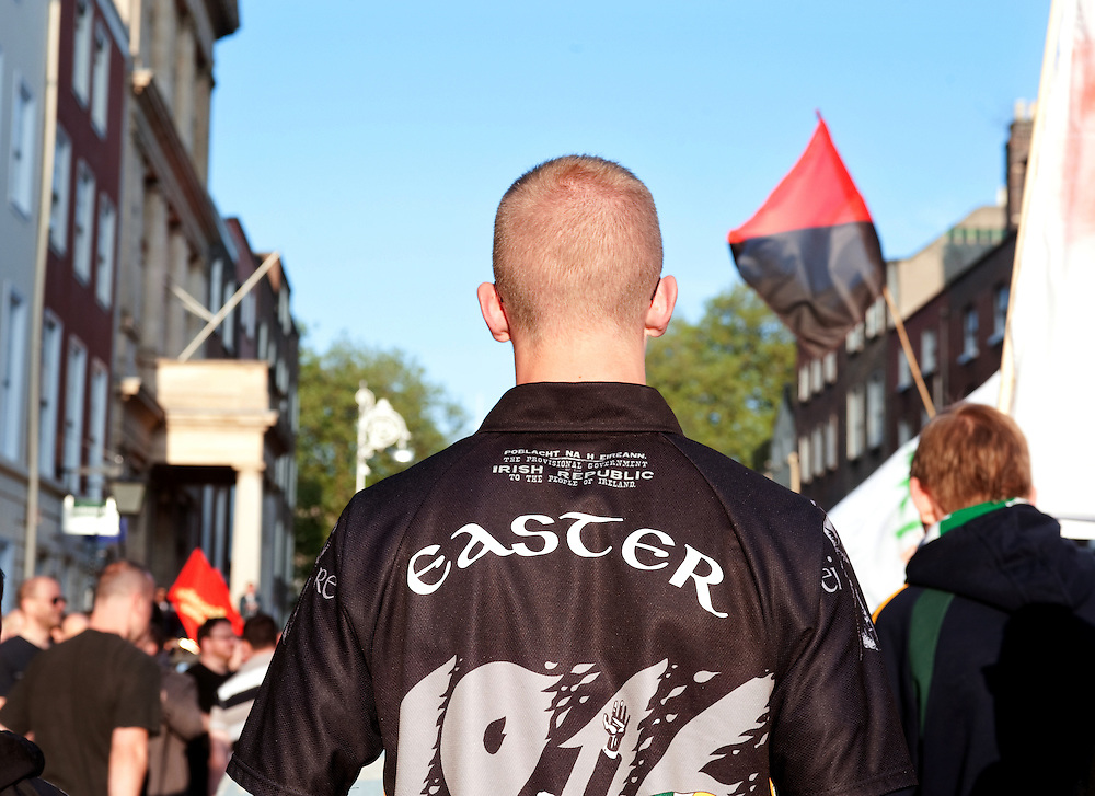 Protester wears a t-shirt commemorating the Easter rising in 1916 outside Leinster House, the seat of the Irish parliment in Dublin against the economic situation in Ireland, particularly government cuts, bank bailouts and lack of jobs.