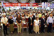 Israel, Ben-Gurion Airport, New immigrants from USA Sing the Israeli National Anthem upon arrival