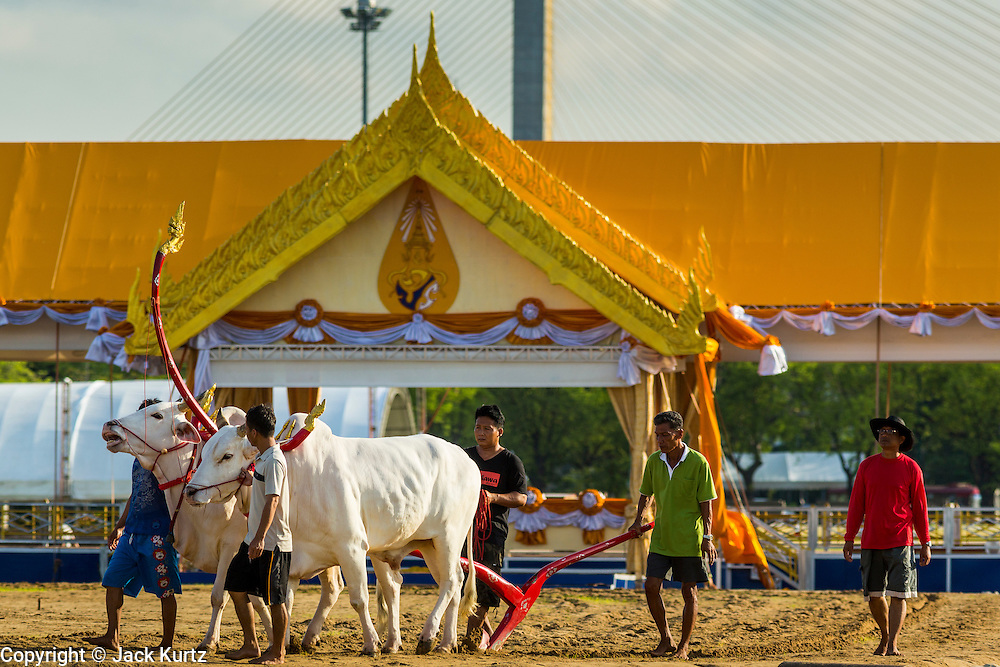 09 MAY 2013 - BANGKOK, THAILAND: Rehearsal for the Royal Ploughing Ceremony on Sanam Luang. The annual Ploughing Ceremony is held during the sixth lunar month (May) at Sanam Luang (the Phramane Ground) in front of the Grand Palace. The event, which marks the beginning of the official rice-planting season, is presided over by His Majesty the King or his representative. The Ploughing Ceremony is thought to date back more than 2500 years. The event has Brahmin origins and even today Brahmin astrologers set the exact date and time for the ceremony. During the Sukhothai period (13th and 14th centuries), the event involved a long processions led by the ruling monarch. Many of the original rites and ceremonies have been maintained.     PHOTO BY JACK KURTZ