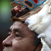 Southwest Alaska Native Tommy Dalton watches a ceremony at pier 57 beginning the procession of a totem pole on Sunday February 26, 2012 in Seattle. The 33-foot tall totem pole was erected at the Seattle Center on Sunday in honor of slain Native American woodcarver John T. Williams. Williams was shot and killed by a Seattle Police officer in 2010. The shooting was later ruled unjustified.  (Joshua Trujillo, seattlepi.com)