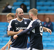 Gary Harkins congratulates Rory Loy after the striker had scored Dundee's third goal - Kilmarnock v Dundee - Ladbrokes Scottish Premiership at Rugby Park<br /> <br />  - &copy; David Young - www.davidyoungphoto.co.uk - email: davidyoungphoto@gmail.com