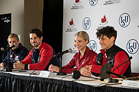 KELOWNA, BC - OCTOBER 26:  Canadian ice dance gold medalists Piper Gilles and Paul Poirier sit in a press conference at Prospera Place on October 25, 2019 in Kelowna, Canada. (Photo by Marissa Baecker/Shoot the Breeze)