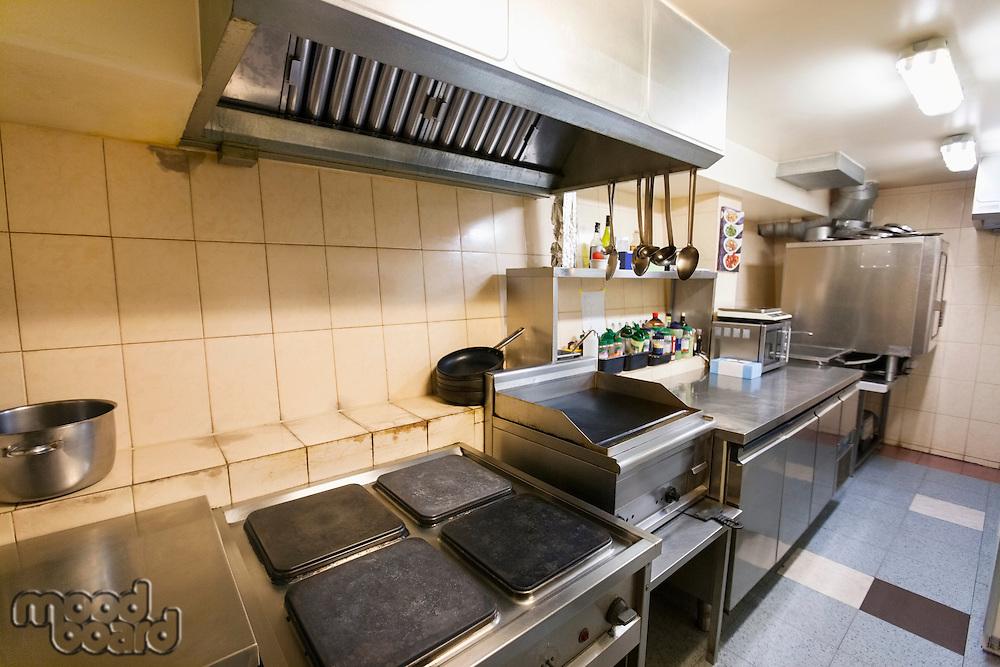 Interior of empty restaurant kitchen
