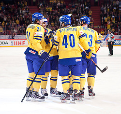 15.05.2012, Ericsson Globe, Stockholm, SWE, IIHF, Eishockey WM, Schweden (SWE) vs Lettland (LVL), im Bild Sverige Sweden cheer for goal // during the IIHF Icehockey World Championship Game between Schweden (SWE) vs Latvia (LVL) at the Ericsson Globe, Stockholm, Sweden on 2012/05/15. EXPA Pictures © 2012, PhotoCredit: EXPA/ PicAgency Skycam..***** ATTENTION - OUT OF SWE *****
