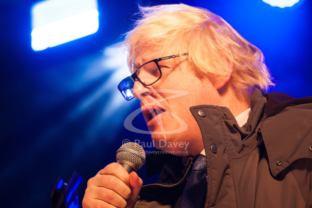 Trafalgar Square, London, December 16th 2014.  London's Jewish community celebrates Chanukah in the Square which marks the beginning of the Jewish festival of lights. The annual event is presented by the Jewish Leadership Council, London Jewish Forum and Chabad and is supported by the Mayor of London.  PICTURED: Mayor of London Boris Johnson delivers a speech expressing the Capital's support for the Jewish community.
