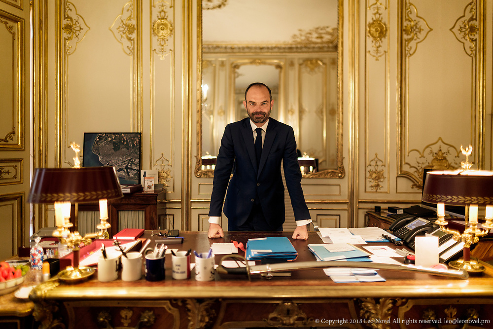 10  July  2017 &ndash; Paris, France<br /> French Prime Minister &Eacute;douard Philippe poses for portraits after an FT interview in his office at Hotel de Matignon.