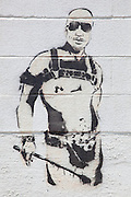 Graffiti stencil depicting former New Orleans Mayor Ray Nagin in a kinky leather outfit with a riding crop; artist unknown