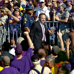 September 10, 2011; Baton Rouge, LA, USA; LSU Tigers head coach Les Miles prior to kickoff of a game against the Northwestern State Demons at Tiger Stadium.  Mandatory Credit: Derick E. Hingle
