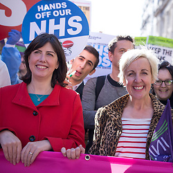 "© Licensed to London News Pictures . 29/09/2013 . Manchester , UK . Lucy Powell , MP for Manchester Central and Coronation Street 's Julie Hesmondhalgh at the front of the march . A Unison lead demonstration titled "" Save our NHS "" through Manchester City Centre today (Sunday 29th September 2013) coinciding with the Conservative Party Conference in the city . Photo credit : Joel Goodman/LNP"