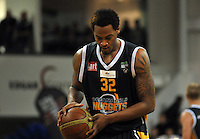 Antoine Tisby takes a shot at goal, in the NBL match, between the Otago Nuggets and Hawkes Bay, Lion Foundation Arena, Edgar Centre, Dunedin, Otago, New Zealand, Friday, May 24, 2013. Credit: Joe Allison / Allison Images.
