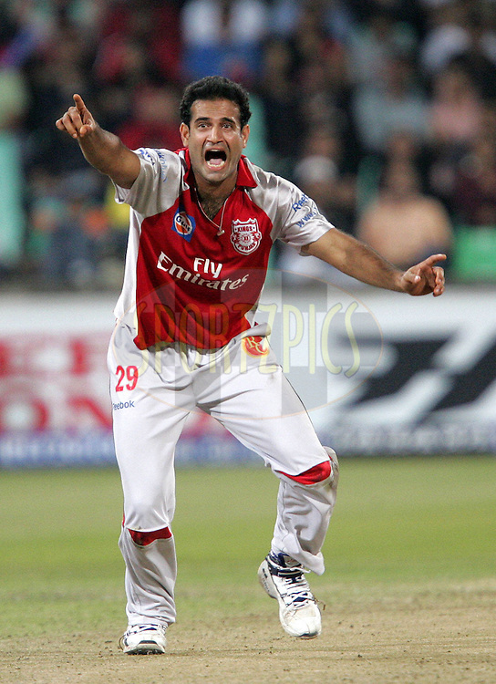 DURBAN, SOUTH AFRICA - 24 April 2009. Irfan Pathan appeals during the IPL Season 2 match between the Royal Challengers Bangalore and the Kings X1 Punjab held at Sahara Stadium Kingsmead, Durban, South Africa..