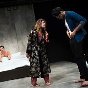 """July 10, 2015 - New York, NY : From left, Quinn Franzen, Alia Attallah, and Karan Oberoi perform in a dress rehearsal for Portland Center Stage<br /> and A Contemporary Theatre (ACT)'s presentation of Yussef El Guindi's """"Threesome"""" at 59E59 on Friday evening. CREDIT: Karsten Moran for The New York Times"""