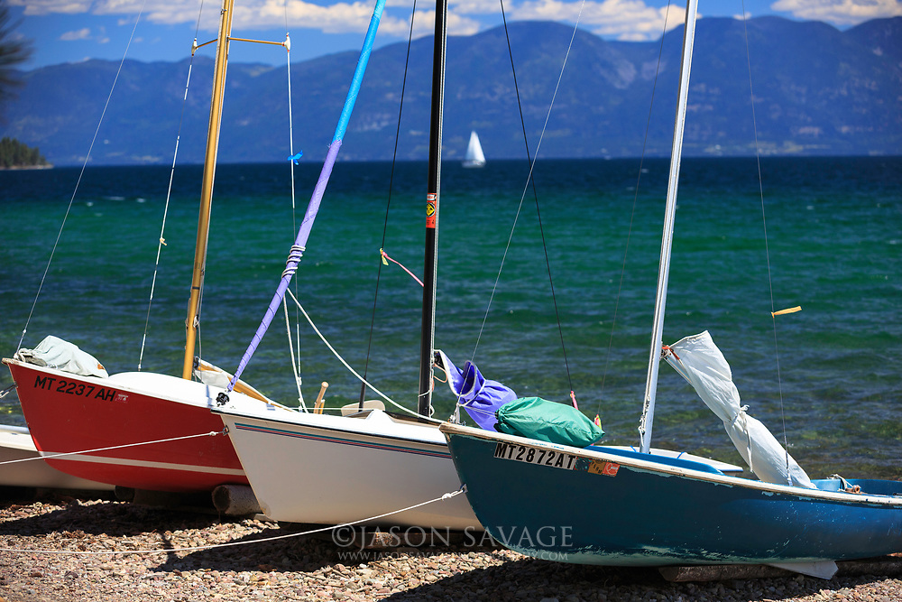 Sailboats on Melita Island, Flathead Lake.