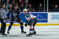 KELOWNA, CANADA - JANUARY 25:  Alex Swetlikoff #17 of the Kelowna Rockets looks to the bench from the face off against the Victoria Royals on January 25, 2019 at Prospera Place in Kelowna, British Columbia, Canada.  (Photo by Marissa Baecker/Shoot the Breeze)