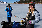 Colorado family preparing for a day of icefishing on the Vallecito reservoir, Southwest Colorado.