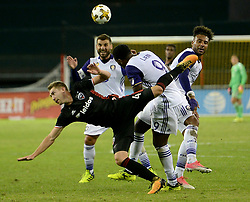 September 9, 2017 - Washington, DC, USA - 20170909 - D.C. United midfielder RUSSELL CANOUSE (4) tumbles to the pitch after making a leaping attempt for the ball against Orlando City FC forward CYLE LARIN (9) in the second half at RFK Stadium in Washington. (Credit Image: © Chuck Myers via ZUMA Wire)