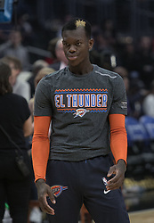 March 8, 2019 - Los Angeles, California, United States of America - Dennis Schroder #17 of the Oklahoma Thunder during warm-ups prior to their NBA game with the Los Angeles Clippers on Friday March 8, 2019 at the Staples Center in Los Angeles, California. Clippers defeat Thunder, 118-110.  JAVIER ROJAS/PI (Credit Image: © Prensa Internacional via ZUMA Wire)