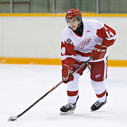 Pickering, ON - Nov 22 : Ontario Junior Hockey League Game Action between Pickering Panthers Hockey Club & Hamilton Red Wings Hockey Club , Joel Knight #44 of the Hamilton Redwings Hockey Club skates with the puck<br /> (Photo by Dave Powers / OJHL Images)
