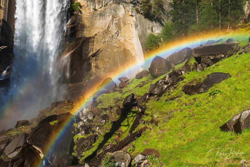 Vernal Fall and rainbow on the Mist Trail, Yosemite National Park, California USA